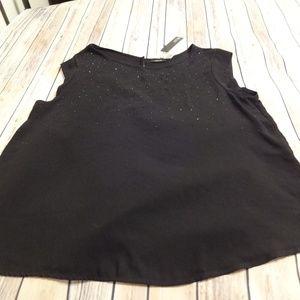 NWT Women's Apt 9 Embellished Black Top XXL